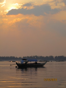 Kratie, Cambodia: Sunset over the Mekong
