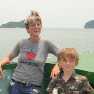 Zac and me on the slow boat to Cat Ba island, with Halong Bay in the background.