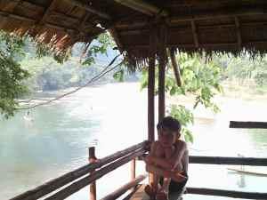 Z in riverside bar, Vang Vieng, Laos