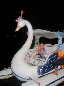 Z in Swan Boat on Perfume River, Hue, Vietnam