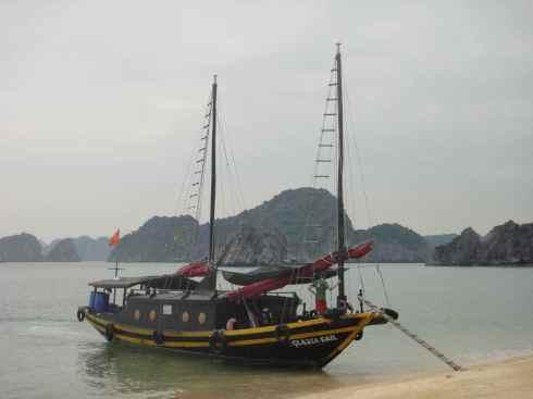 Junk moored off Monkey Island, Halong Bay, Vietnam.