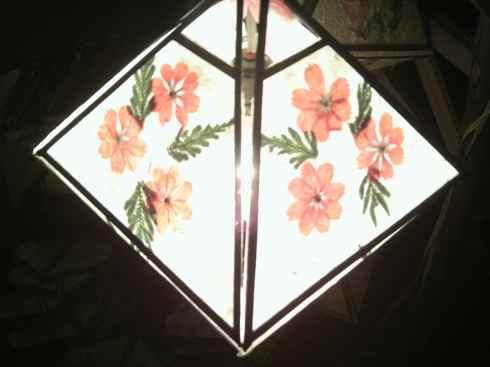 Lantern made with orange pressed flowers, Luang Prabang, Laos