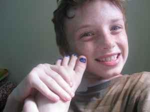 Z showing off his blue toenails