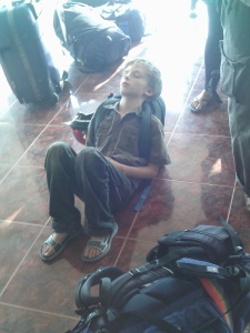 Z crashed out on his pack, Thanaleng Station, Laos