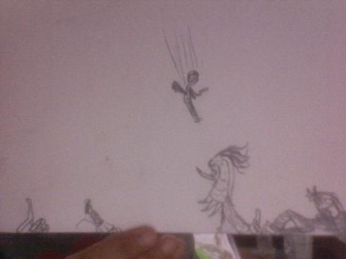 Drawing of the troll battle in Artemis Fowl