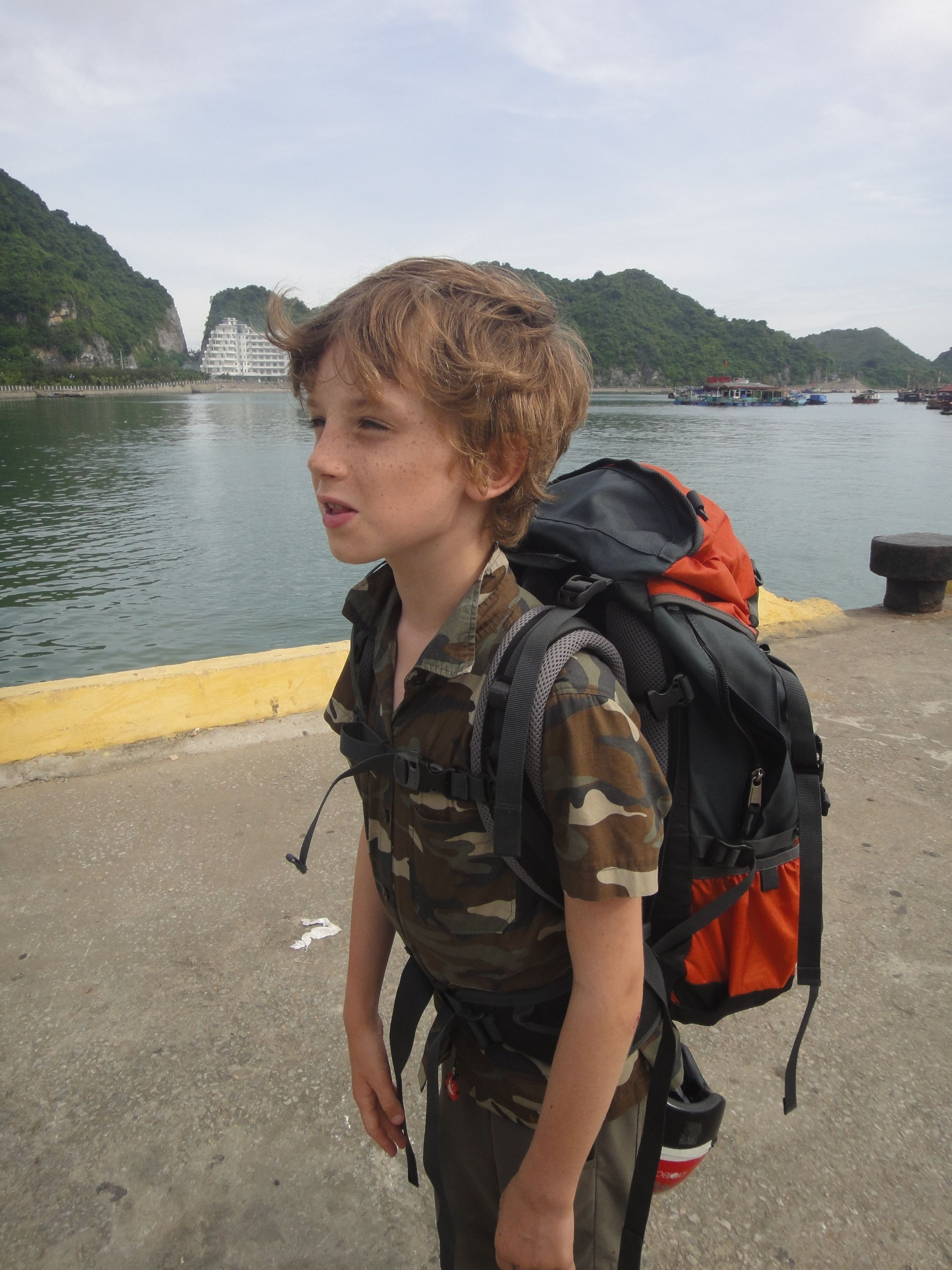 Z with his new backpack on the pier of Cat Ba island 81ff805b894b2