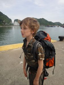 Z with his new backpack on the pier of Cat Ba island, Vietnam