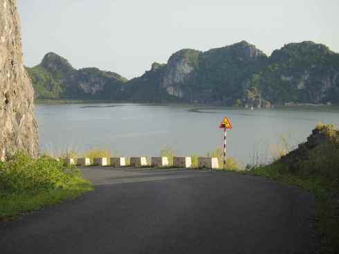 View from the western coast road, Cat Ba island, Halong Bay, Vietnam