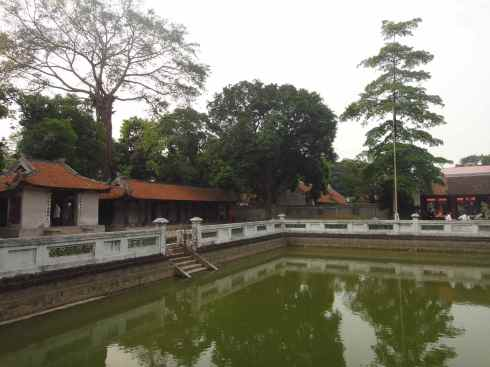 Trees and reflecting pool in the Temple of Literature, Hanoi, Vietnam