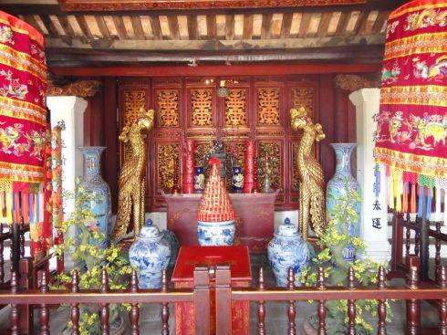 Altar at Ngoc Son (Jade Mountain) Temple, Hoan Kiem Lake, Hanoi, Vietnam
