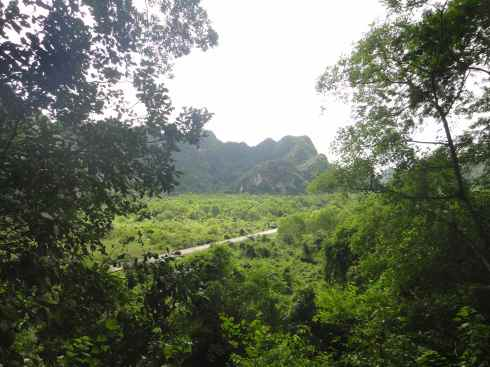 The green countryside around the Hospital Cave, Cat Ba Island, Halong Bay, Vietnam
