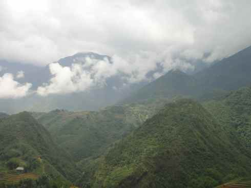 Clouds descending over hilltops, Sapa, Vietnam.