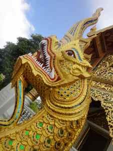 Glittering dragon, or naga, guarding temple, Chiang Mai.