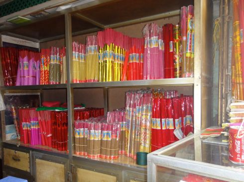Incense sticks on shelves, incense store, hanoi, vietnam.