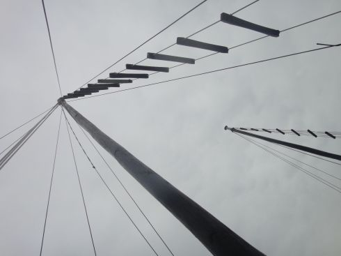 View of the rigging of a junk, looking up to the sky, Halong Bay, Vietnam