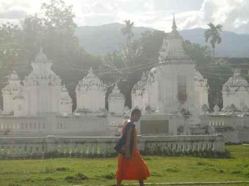Novice monk walking through the graveyard of the abbots, Wat Suan Dok, Chiang Mai, Thailand.