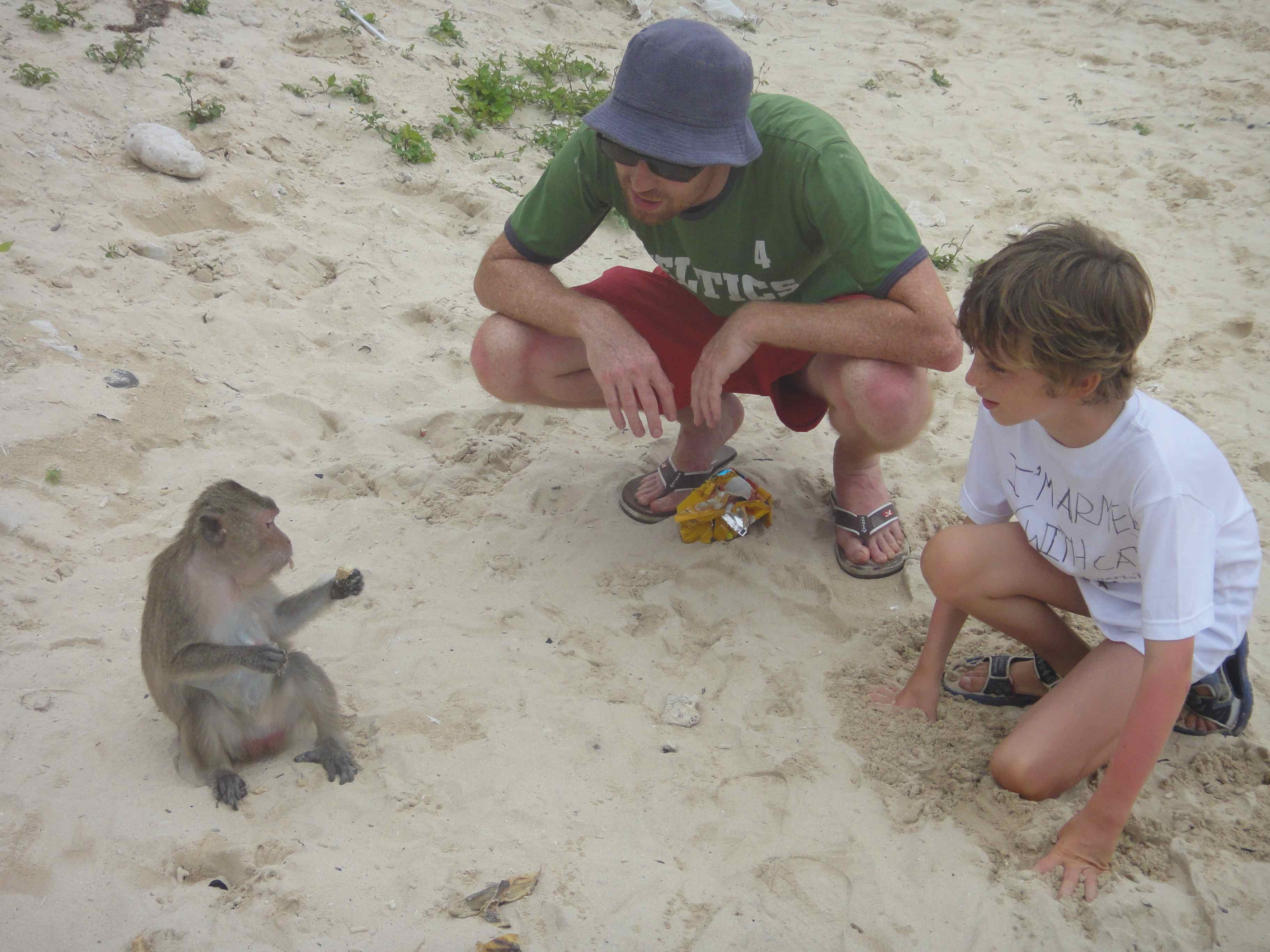 Interacting with a monkey eating a banana on Monkey Island, Halong Bay, Vietnam.