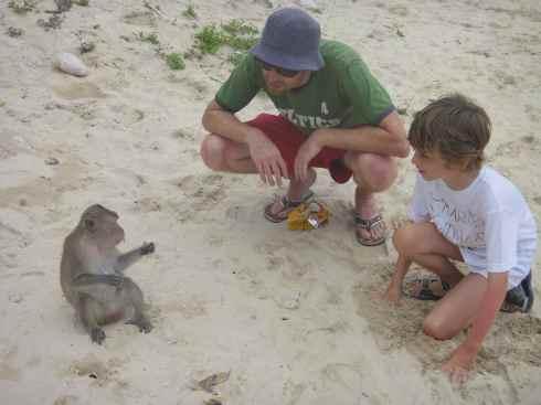Interacting with a monkey eating a banana on Monkey Island, Halong Bay, Vietnam.