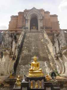Buddhas on the ruins of a medieval chedi. Wat Chedi Luang, Chiang Mai, Thailand.
