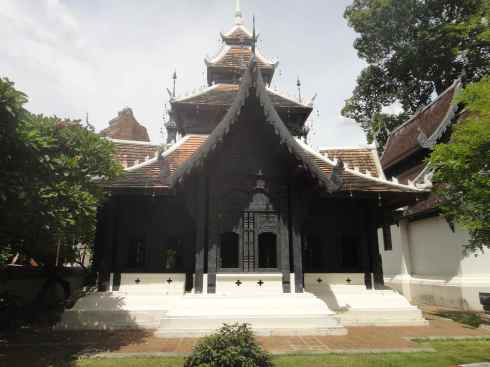 Wooden lanna Thai temple at Wat Chedi Luang, Chiang Mai, Thailand.