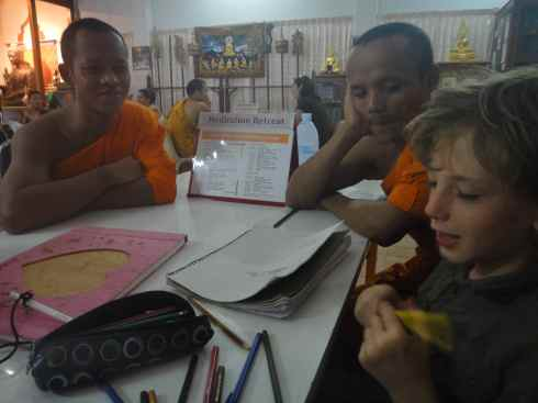 Z talking to the monks at Wat Suan Dok, Chiang Mai, Thailand.