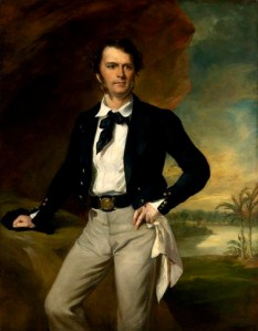 Portrait of Sir James Brooke, hand on hip, another on desk, in full colonial mode. By Sir Francis Grant.
