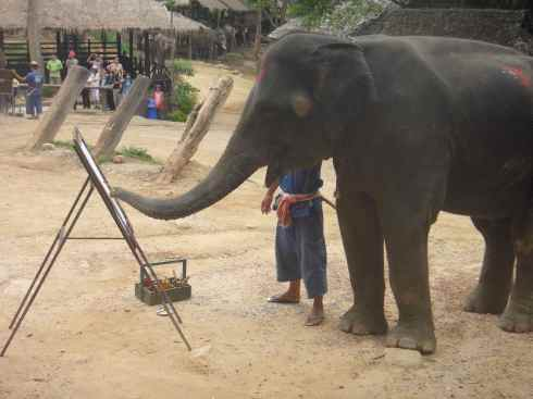 elephant painting at an easel
