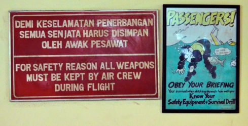 For safety reasons all weapons must be kept by air crew during flight.