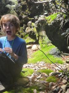 Z on moss carpet, ascending Mount Kinabalu.