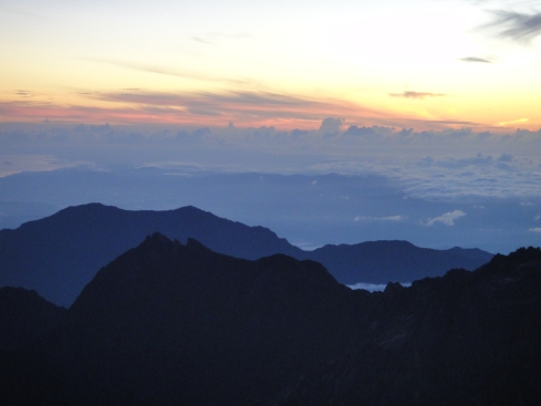 Low's Gully against a cloudy sunrise, mount kinabalu, borneo, malaysia.