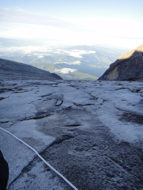 Part of the rope trail across the summit of Mount Kinabalu, Borneo.