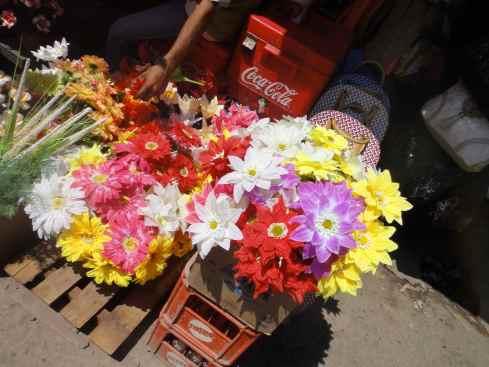 Plastic flowers at Makassar Mall, Makassar, Indonesia.