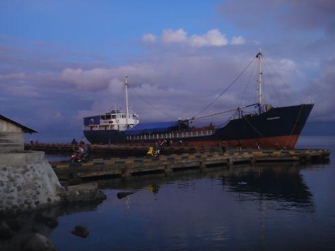 Ferry at sunrise in Ampana Port, Sulawesi, Indonesia.
