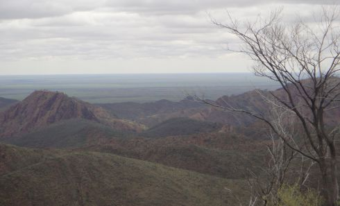 Cloudy view of Flinders Ranges, looking towards Lake Frome.