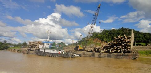 Logging barges on the Batang Rejang, Borneo
