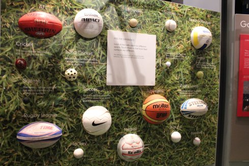 different types of ball for children to touch with explanations about their functionality: Melbourne Scienceworks