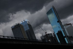 stormclouds incoming over sydney, australia