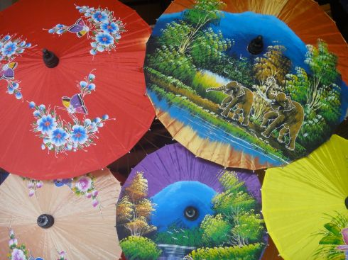 Painted silk umbrellas in Bo Sang, outside Chiang Mai, Thailand