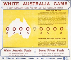 cover from a children's board game, the White Australia Game, c. 1920s